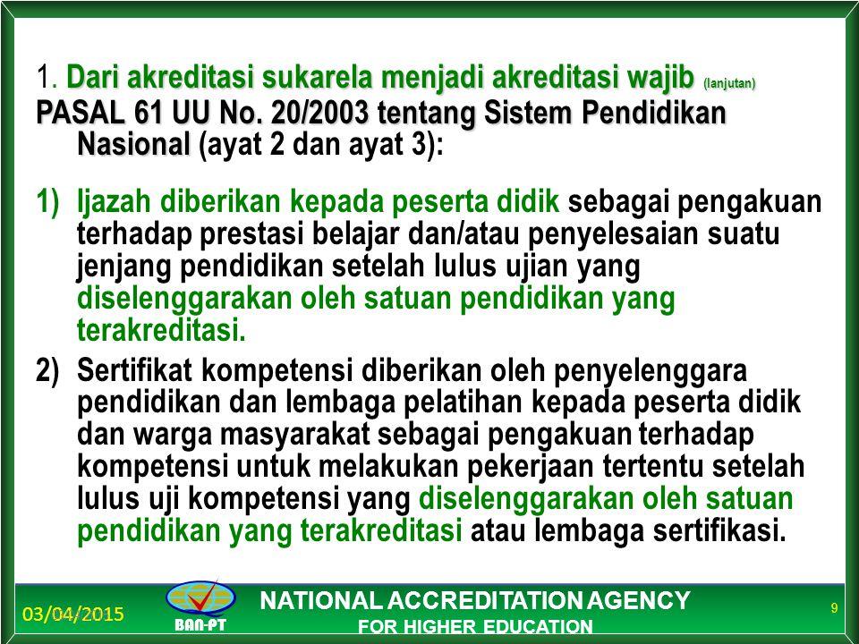 03/04/2015 BAN-PT NATIONAL ACCREDITATION AGENCY FOR HIGHER EDUCATION 03/04/2015 9 Dari akreditasi sukarela menjadi akreditasi wajib (lanjutan) 1. Dari
