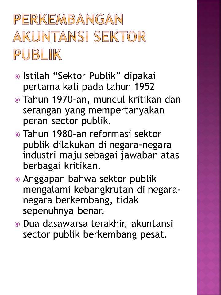  Istilah Sektor Publik dipakai pertama kali pada tahun 1952  Tahun 1970-an, muncul kritikan dan serangan yang mempertanyakan peran sector publik.