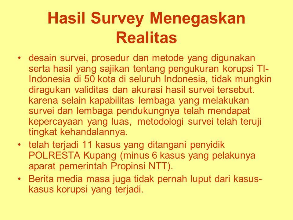 Hasil Survey Menegaskan Realitas desain survei, prosedur dan metode yang digunakan serta hasil yang sajikan tentang pengukuran korupsi TI- Indonesia di 50 kota di seluruh Indonesia, tidak mungkin diragukan validitas dan akurasi hasil survei tersebut.