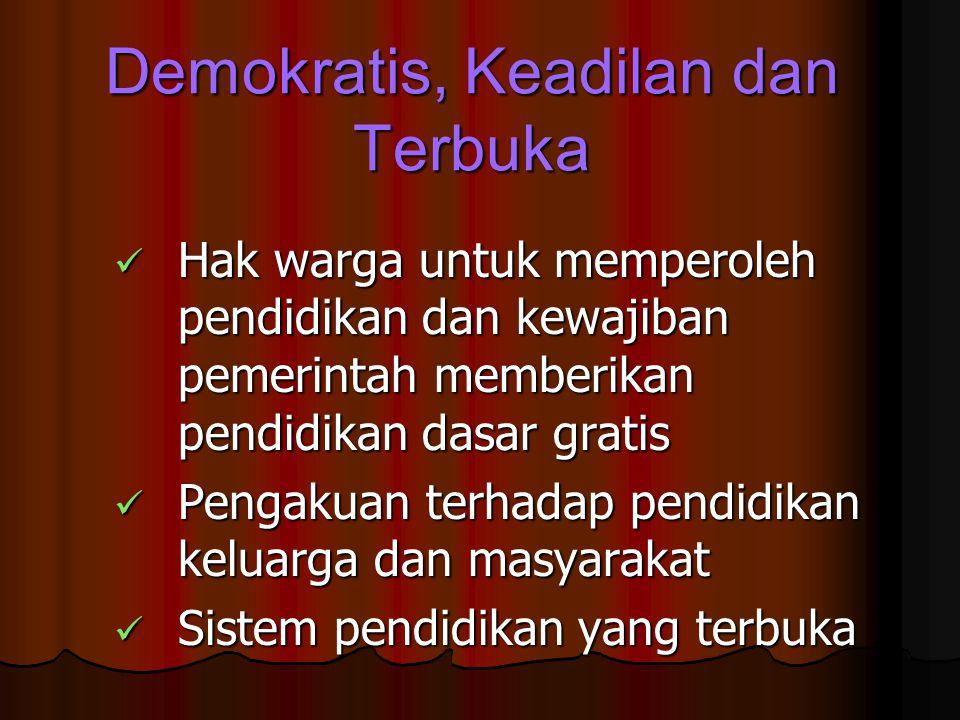 Demokratis, Keadilan dan Terbuka Hak warga untuk memperoleh pendidikan dan kewajiban pemerintah memberikan pendidikan dasar gratis Hak warga untuk mem
