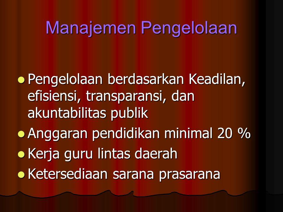 Manajemen Pengelolaan Pengelolaan berdasarkan Keadilan, efisiensi, transparansi, dan akuntabilitas publik Pengelolaan berdasarkan Keadilan, efisiensi,