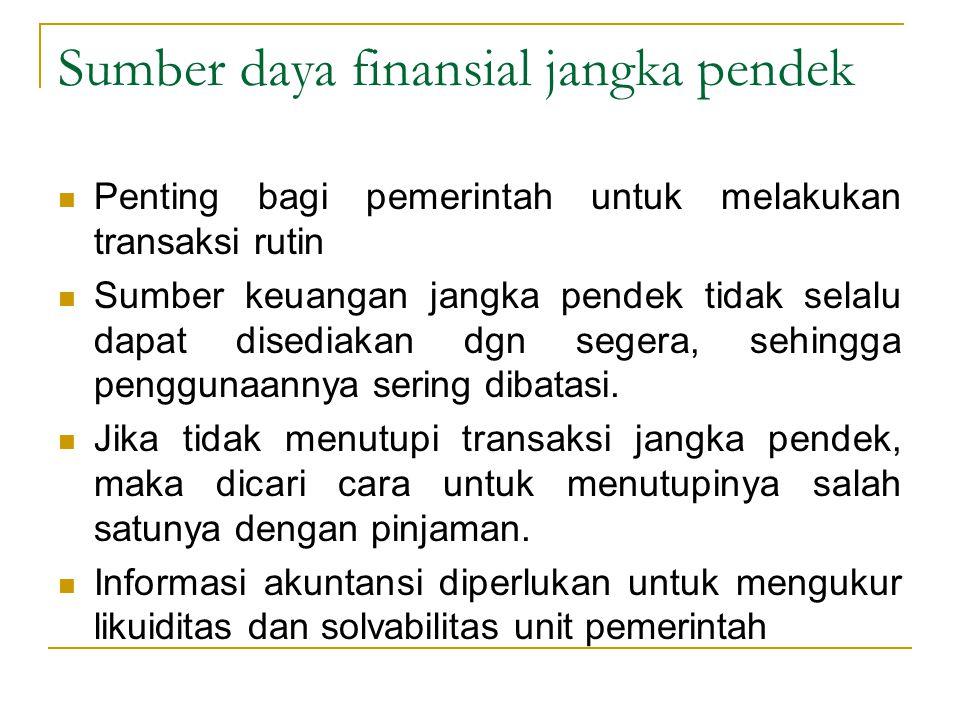 Sumber daya finansial jangka pendek Penting bagi pemerintah untuk melakukan transaksi rutin Sumber keuangan jangka pendek tidak selalu dapat disediaka