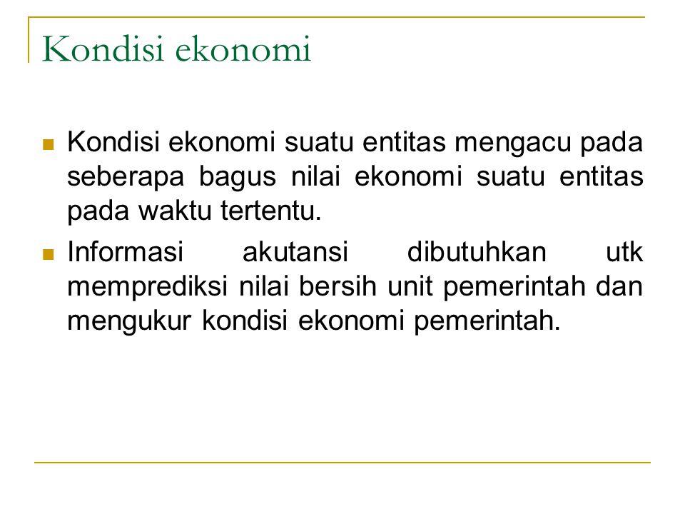 Kondisi ekonomi Kondisi ekonomi suatu entitas mengacu pada seberapa bagus nilai ekonomi suatu entitas pada waktu tertentu. Informasi akutansi dibutuhk