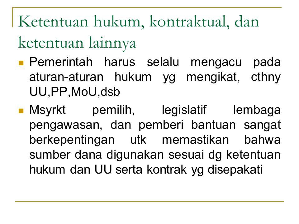 Ketentuan hukum, kontraktual, dan ketentuan lainnya Pemerintah harus selalu mengacu pada aturan-aturan hukum yg mengikat, cthny UU,PP,MoU,dsb Msyrkt p