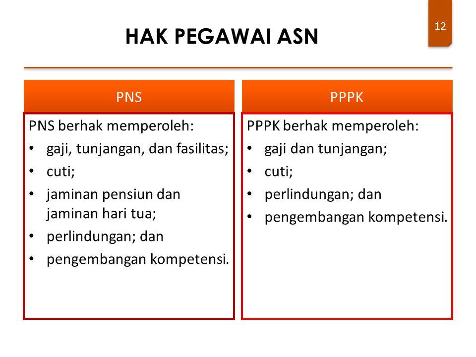 12 PNS PNS berhak memperoleh: gaji, tunjangan, dan fasilitas; cuti; jaminan pensiun dan jaminan hari tua; perlindungan; dan pengembangan kompetensi. P