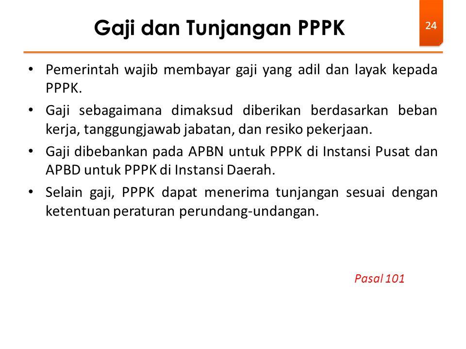Pemerintah wajib membayar gaji yang adil dan layak kepada PPPK. Gaji sebagaimana dimaksud diberikan berdasarkan beban kerja, tanggungjawab jabatan, da