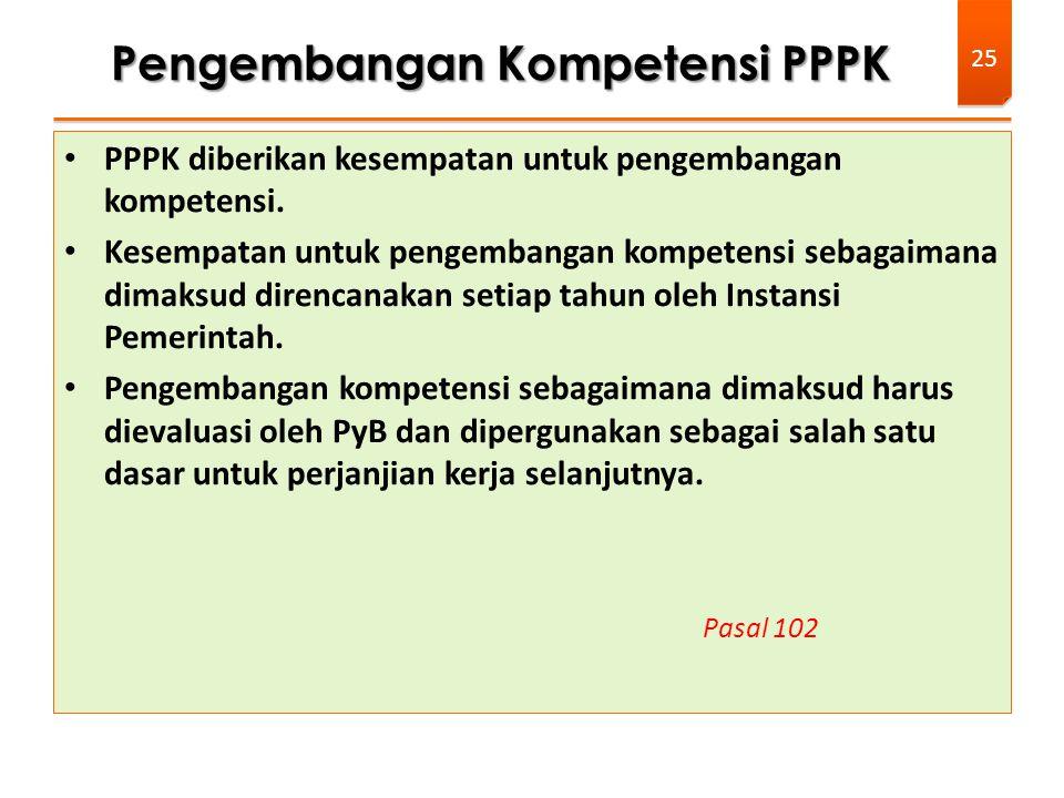 PPPK diberikan kesempatan untuk pengembangan kompetensi. Kesempatan untuk pengembangan kompetensi sebagaimana dimaksud direncanakan setiap tahun oleh