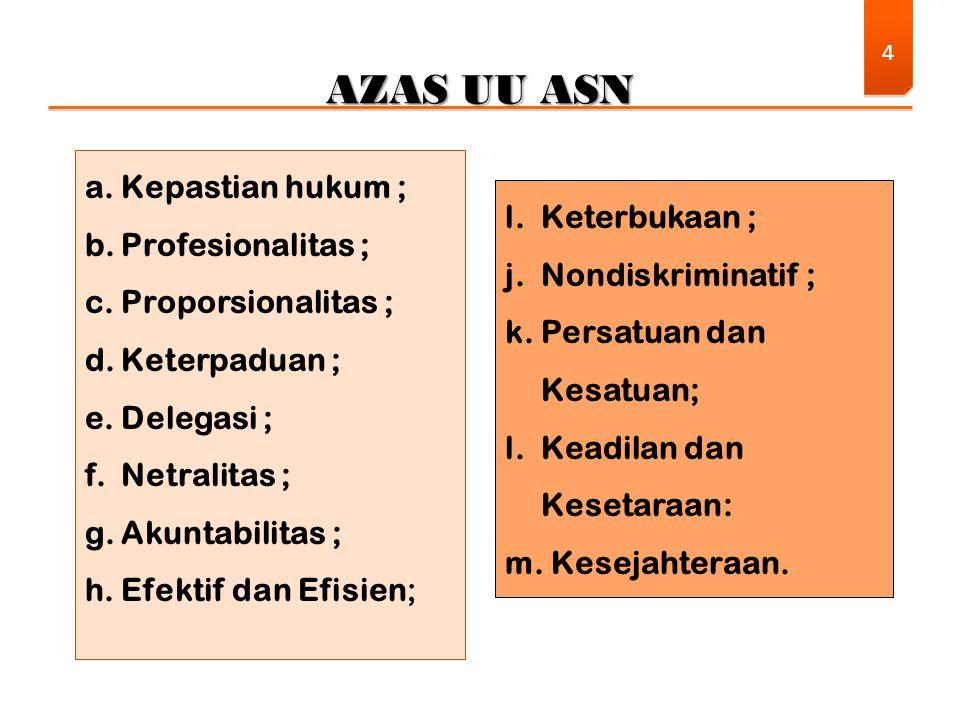 AZAS UU ASN 4 a.Kepastian hukum ; b.Profesionalitas ; c.Proporsionalitas ; d.Keterpaduan ; e.Delegasi ; f.Netralitas ; g.Akuntabilitas ; h.Efektif dan