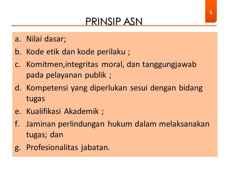 a.Nilai dasar; b.Kode etik dan kode perilaku ; c.Komitmen,integritas moral, dan tanggungjawab pada pelayanan publik ; d.Kompetensi yang diperlukan ses