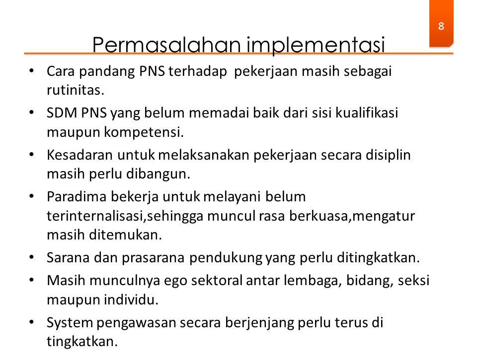 Cara pandang PNS terhadap pekerjaan masih sebagai rutinitas. SDM PNS yang belum memadai baik dari sisi kualifikasi maupun kompetensi. Kesadaran untuk