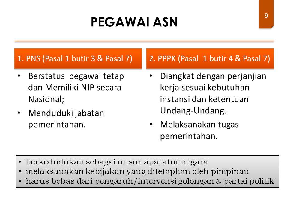 9 1. PNS (Pasal 1 butir 3 & Pasal 7) Berstatus pegawai tetap dan Memiliki NIP secara Nasional; Menduduki jabatan pemerintahan. 2. PPPK (Pasal 1 butir