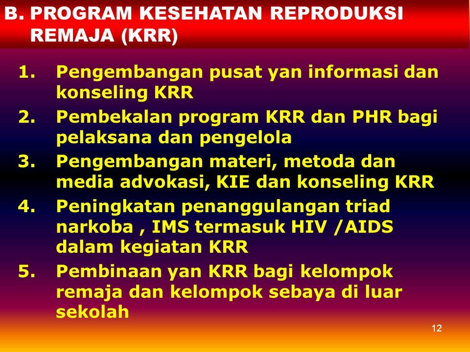11 5.Peningkatan pembinaan kualitas sarana dan yan KB-KR 6.Promosi kesehatan ibu, bayi dan anak melalui poktan di masy. (Bina keluarga, posyandu, pok