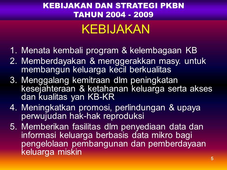 PENDAHULUAN RPJM 2005-09 Berpengaruh pada Pelaksanaan Program KB Nasional Lingkungan strategis AKSELERASI PROGRAM TERPADU & KOMPREHENSIF TAHUN 2006 RK