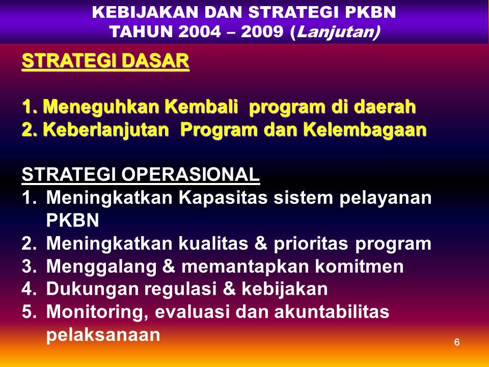 5 KEBIJAKAN DAN STRATEGI PKBN TAHUN 2004 - 2009 KEBIJAKAN 1.Menata kembali program & kelembagaan KB 2.Memberdayakan & menggerakkan masy. untuk membang