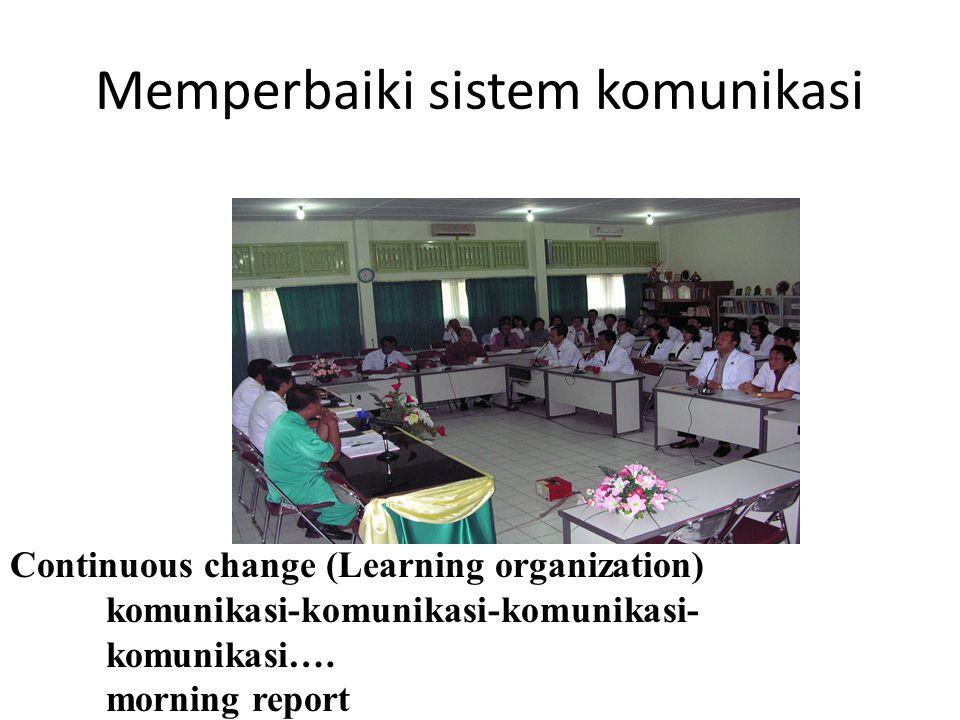 Memperbaiki sistem komunikasi Continuous change (Learning organization) komunikasi-komunikasi-komunikasi- komunikasi….
