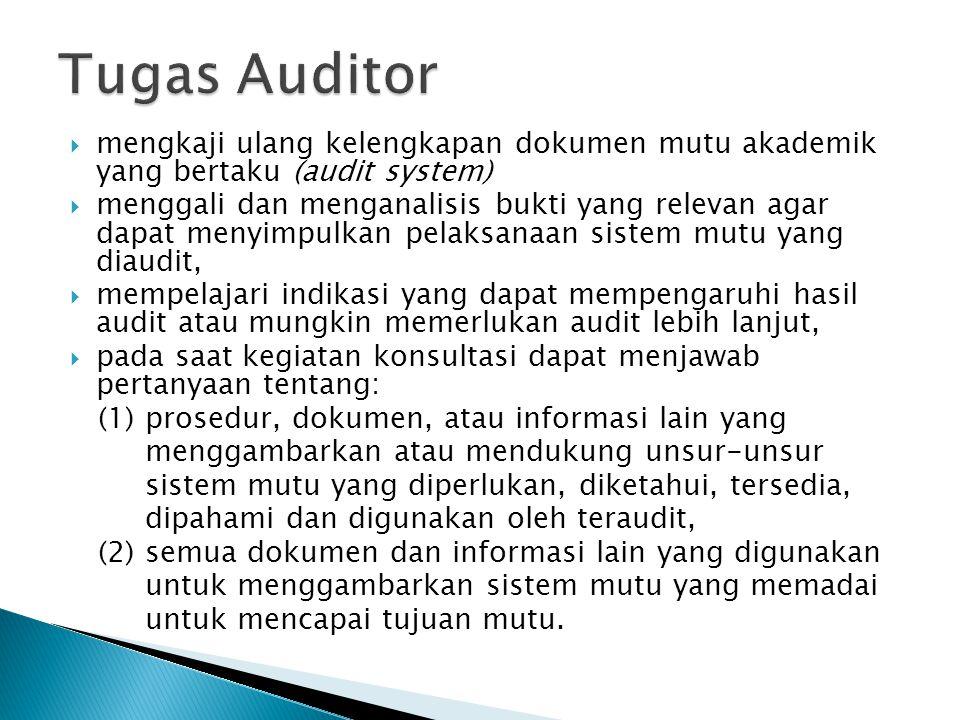  mengkaji ulang kelengkapan dokumen mutu akademik yang bertaku (audit system)  menggali dan menganalisis bukti yang relevan agar dapat menyimpulkan