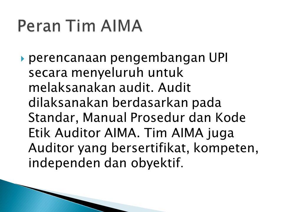  perencanaan pengembangan UPI secara menyeluruh untuk melaksanakan audit. Audit dilaksanakan berdasarkan pada Standar, Manual Prosedur dan Kode Etik