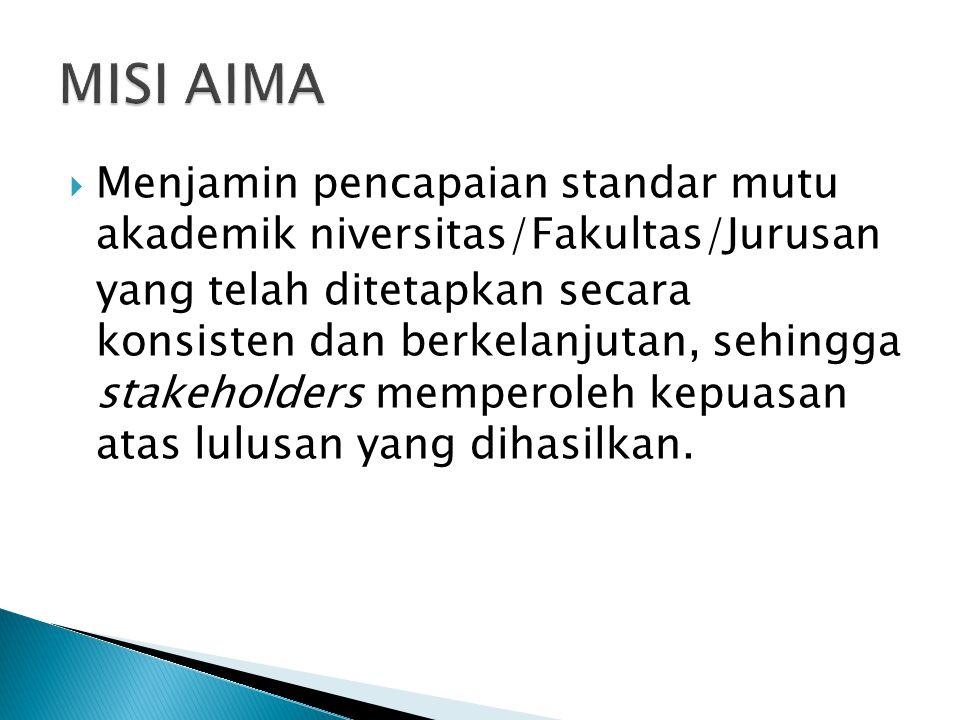  Menjamin pencapaian standar mutu akademik niversitas/Fakultas/Jurusan yang telah ditetapkan secara konsisten dan berkelanjutan, sehingga stakeholder