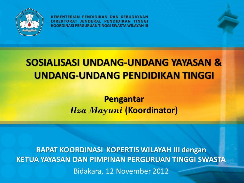 Materi Rapat Koordinasi Pengantar 1 Sosialisasi Undang-Undang Nomor 28 Tahun 2004 tentang Yayasan 2 Sosialisasi Undang-Undang Nomor 12 Tahun 2012 tentang Pendidikan Tinggi 3