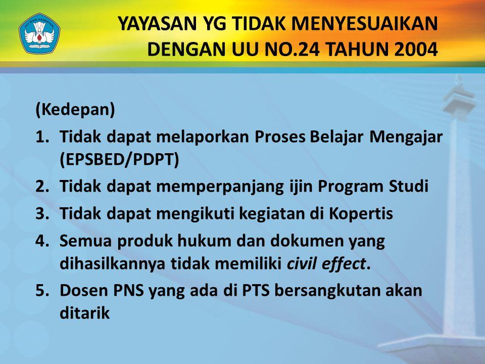 YAYASAN YG TIDAK MENYESUAIKAN DENGAN UU NO.24 TAHUN 2004 (Kedepan) 1.Tidak dapat melaporkan Proses Belajar Mengajar (EPSBED/PDPT) 2.Tidak dapat memper