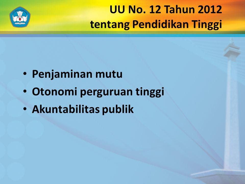 UU No. 12 Tahun 2012 tentang Pendidikan Tinggi Penjaminan mutu Otonomi perguruan tinggi Akuntabilitas publik