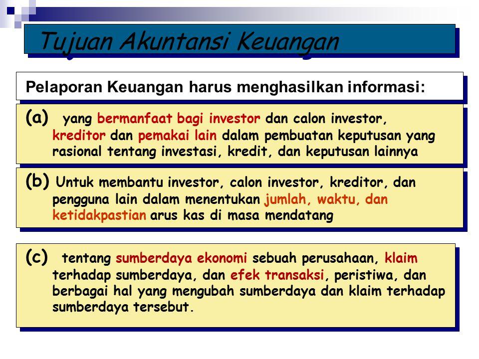Pelaporan Keuangan harus menghasilkan informasi: (a) yang bermanfaat bagi investor dan calon investor, kreditor dan pemakai lain dalam pembuatan keput