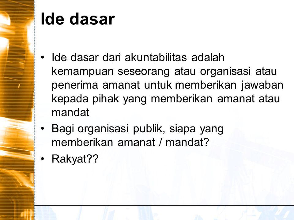 Ide dasar Ide dasar dari akuntabilitas adalah kemampuan seseorang atau organisasi atau penerima amanat untuk memberikan jawaban kepada pihak yang memberikan amanat atau mandat Bagi organisasi publik, siapa yang memberikan amanat / mandat.