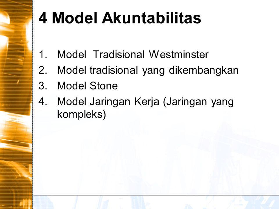 4 Model Akuntabilitas 1.Model Tradisional Westminster 2.Model tradisional yang dikembangkan 3.Model Stone 4.Model Jaringan Kerja (Jaringan yang kompleks)