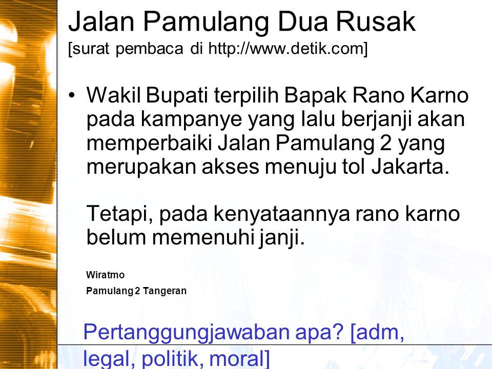 Jalan Pamulang Dua Rusak [surat pembaca di http://www.detik.com] Wakil Bupati terpilih Bapak Rano Karno pada kampanye yang lalu berjanji akan memperbaiki Jalan Pamulang 2 yang merupakan akses menuju tol Jakarta.