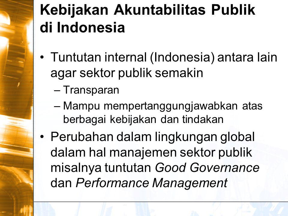 Kebijakan Akuntabilitas Publik di Indonesia Tuntutan internal (Indonesia) antara lain agar sektor publik semakin –Transparan –Mampu mempertanggungjawabkan atas berbagai kebijakan dan tindakan Perubahan dalam lingkungan global dalam hal manajemen sektor publik misalnya tuntutan Good Governance dan Performance Management