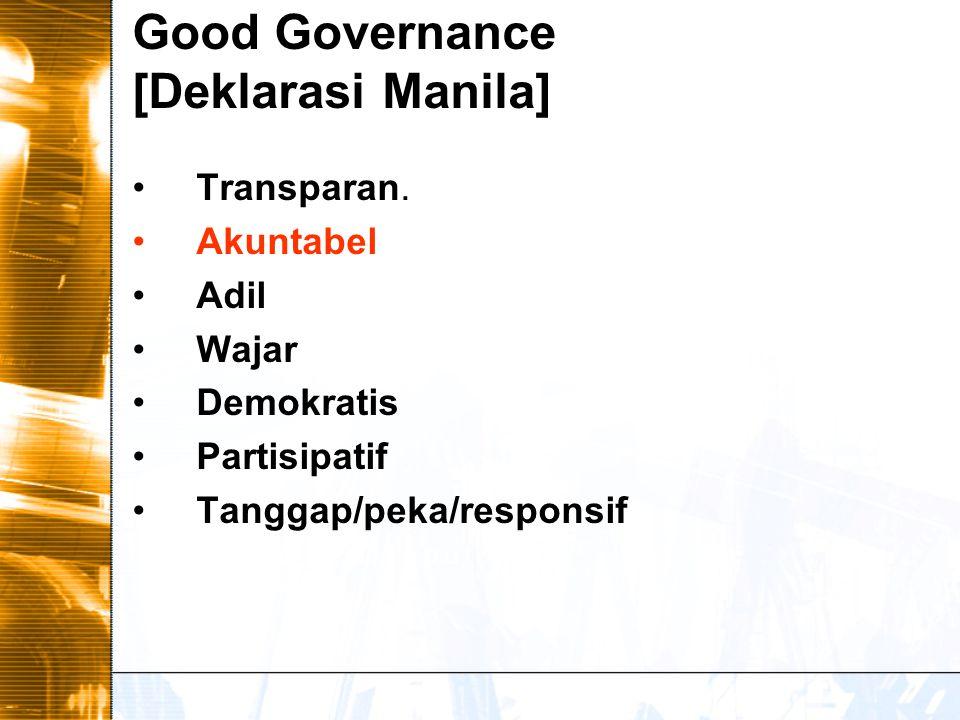 Good Governance [UNDP] Partisipasi Aturan hukum (rule of law Transparansi.