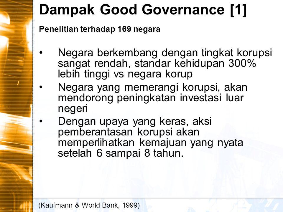 Dampak Good Governance [1] Penelitian terhadap 169 negara Negara berkembang dengan tingkat korupsi sangat rendah, standar kehidupan 300% lebih tinggi vs negara korup Negara yang memerangi korupsi, akan mendorong peningkatan investasi luar negeri Dengan upaya yang keras, aksi pemberantasan korupsi akan memperlihatkan kemajuan yang nyata setelah 6 sampai 8 tahun.
