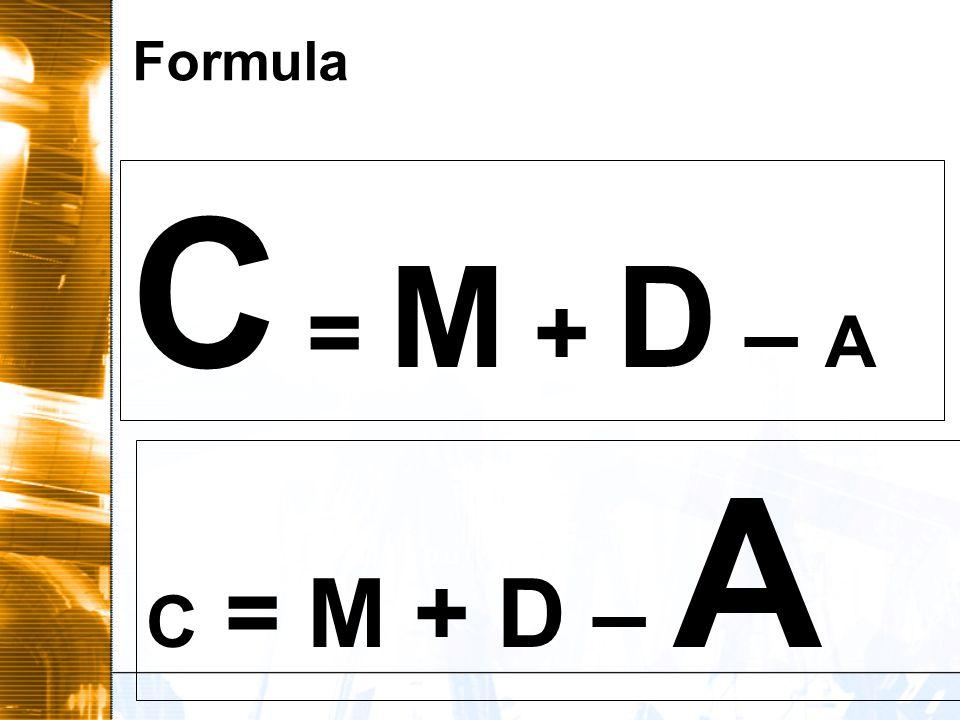 Formula C = M + D – A