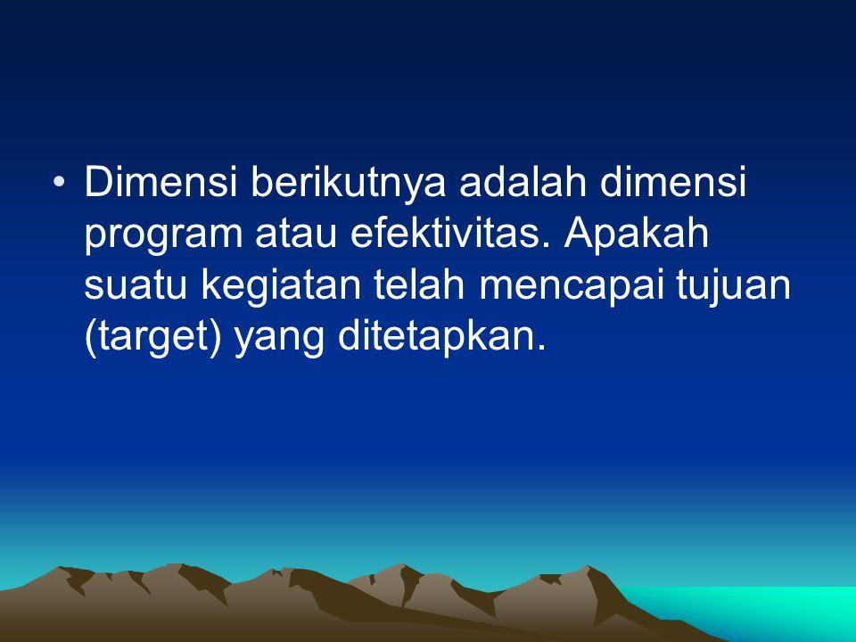 Dimensi berikutnya adalah dimensi program atau efektivitas. Apakah suatu kegiatan telah mencapai tujuan (target) yang ditetapkan.