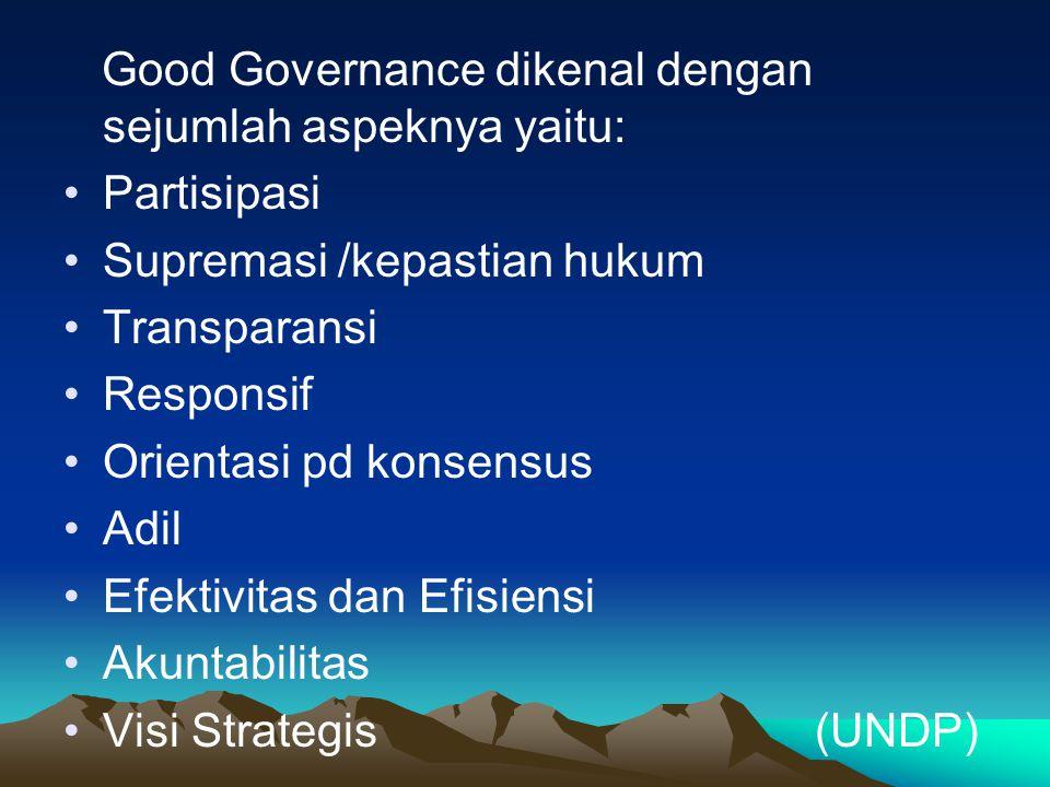 Good Governance dikenal dengan sejumlah aspeknya yaitu: Partisipasi Supremasi /kepastian hukum Transparansi Responsif Orientasi pd konsensus Adil Efek