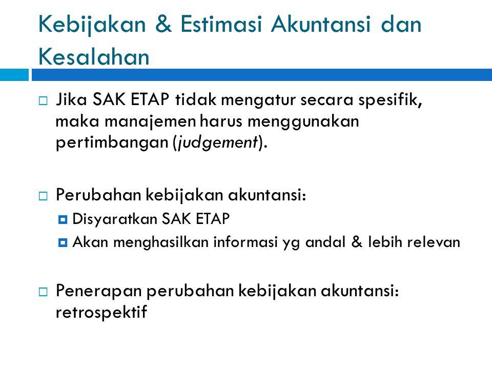 Kebijakan & Estimasi Akuntansi dan Kesalahan  Jika SAK ETAP tidak mengatur secara spesifik, maka manajemen harus menggunakan pertimbangan (judgement).