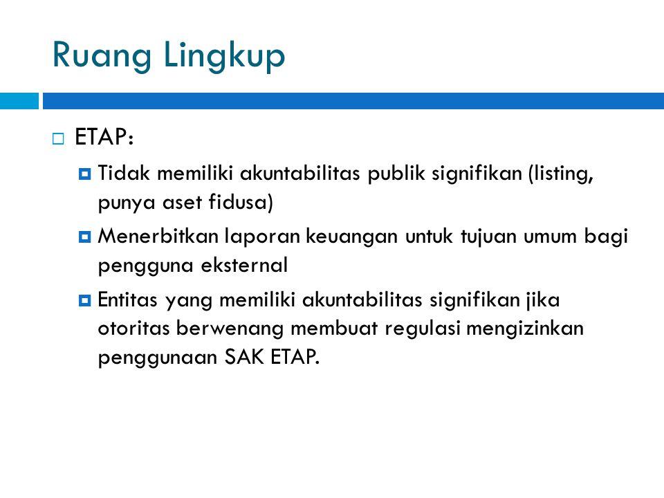 Ruang Lingkup  ETAP:  Tidak memiliki akuntabilitas publik signifikan (listing, punya aset fidusa)  Menerbitkan laporan keuangan untuk tujuan umum bagi pengguna eksternal  Entitas yang memiliki akuntabilitas signifikan jika otoritas berwenang membuat regulasi mengizinkan penggunaan SAK ETAP.