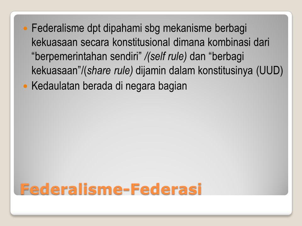 """Federalisme-Federasi Federalisme dpt dipahami sbg mekanisme berbagi kekuasaan secara konstitusional dimana kombinasi dari """"berpemerintahan sendiri"""" /("""