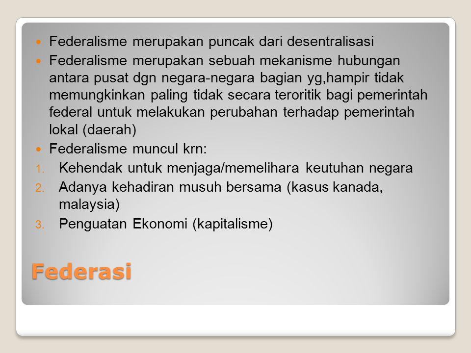 Federasi Federalisme merupakan puncak dari desentralisasi Federalisme merupakan sebuah mekanisme hubungan antara pusat dgn negara-negara bagian yg,ham
