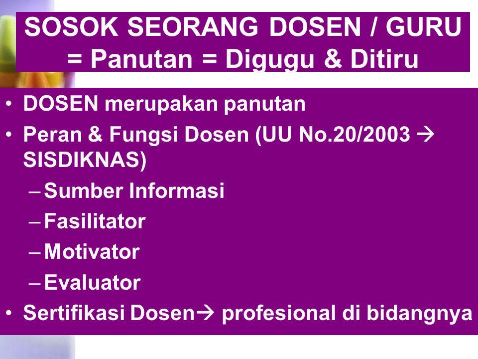 SOSOK SEORANG DOSEN / GURU = Panutan = Digugu & Ditiru DOSEN merupakan panutan Peran & Fungsi Dosen (UU No.20/2003  SISDIKNAS) –Sumber Informasi –Fas