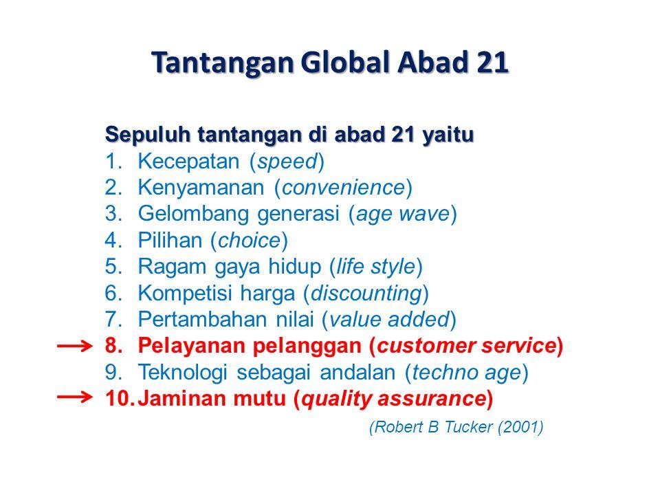 Tantangan Global Abad 21 Sepuluh tantangan di abad 21 yaitu 1.Kecepatan (speed) 2.Kenyamanan (convenience) 3.Gelombang generasi (age wave) 4.Pilihan (