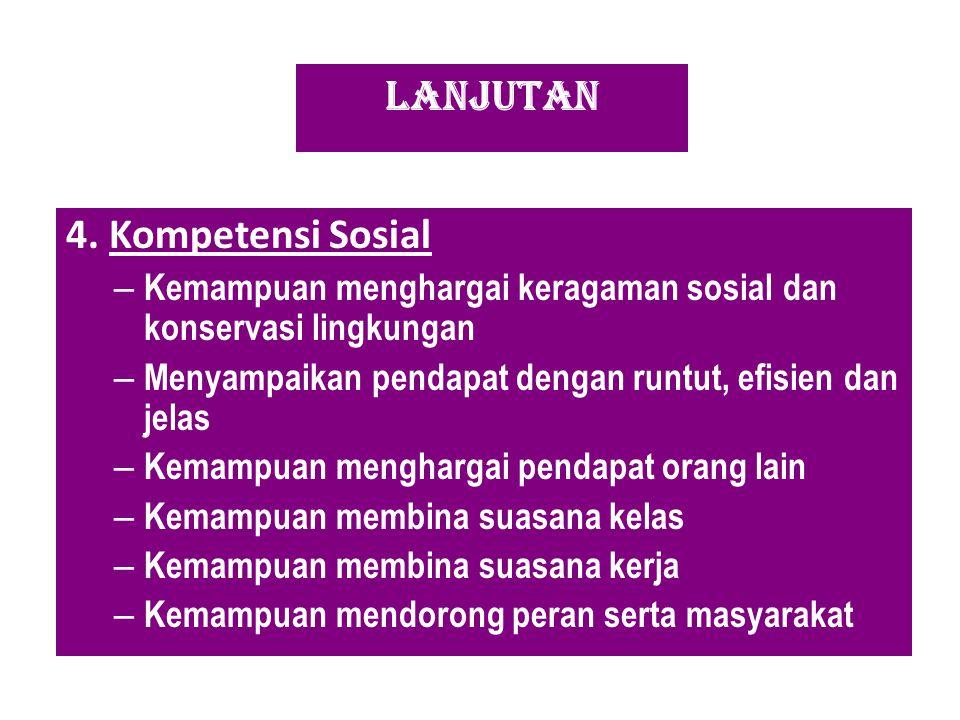 LANJUTAN 4. Kompetensi Sosial – Kemampuan menghargai keragaman sosial dan konservasi lingkungan – Menyampaikan pendapat dengan runtut, efisien dan jel