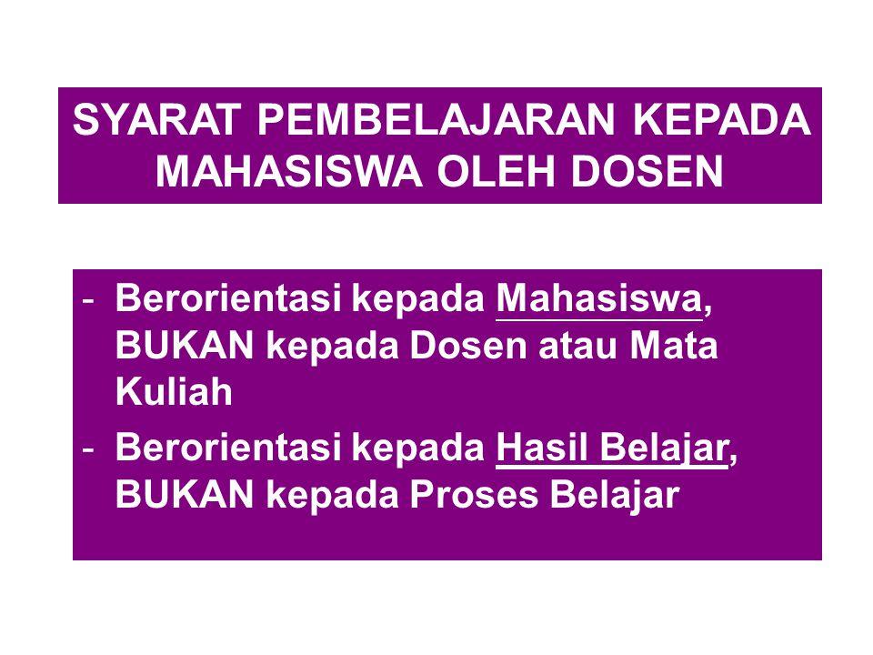 SYARAT PEMBELAJARAN KEPADA MAHASISWA OLEH DOSEN -Berorientasi kepada Mahasiswa, BUKAN kepada Dosen atau Mata Kuliah -Berorientasi kepada Hasil Belajar