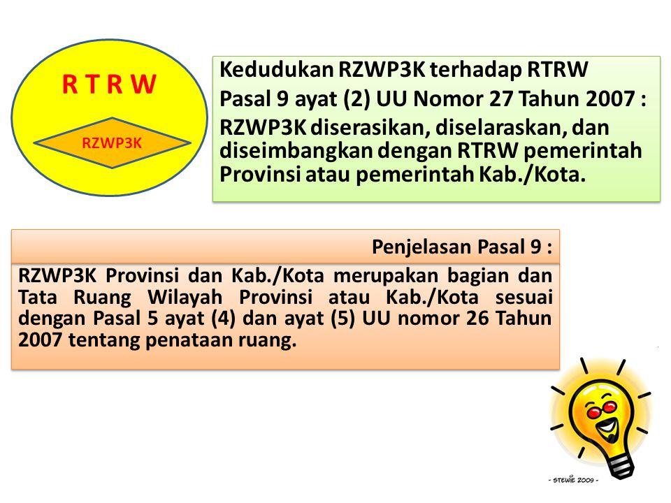 Kedudukan RZWP3K terhadap RTRW Pasal 9 ayat (2) UU Nomor 27 Tahun 2007 : RZWP3K diserasikan, diselaraskan, dan diseimbangkan dengan RTRW pemerintah Pr