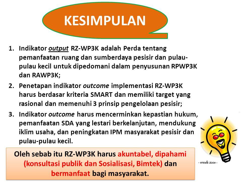 KESIMPULAN 1.Indikator output RZ-WP3K adalah Perda tentang pemanfaatan ruang dan sumberdaya pesisir dan pulau- pulau kecil untuk dipedomani dalam peny