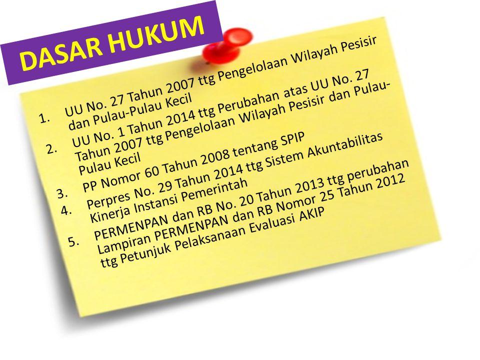 DASAR HUKUM 1.UU No. 27 Tahun 2007 ttg Pengelolaan Wilayah Pesisir dan Pulau-Pulau Kecil 2.UU No. 1 Tahun 2014 ttg Perubahan atas UU No. 27 Tahun 2007