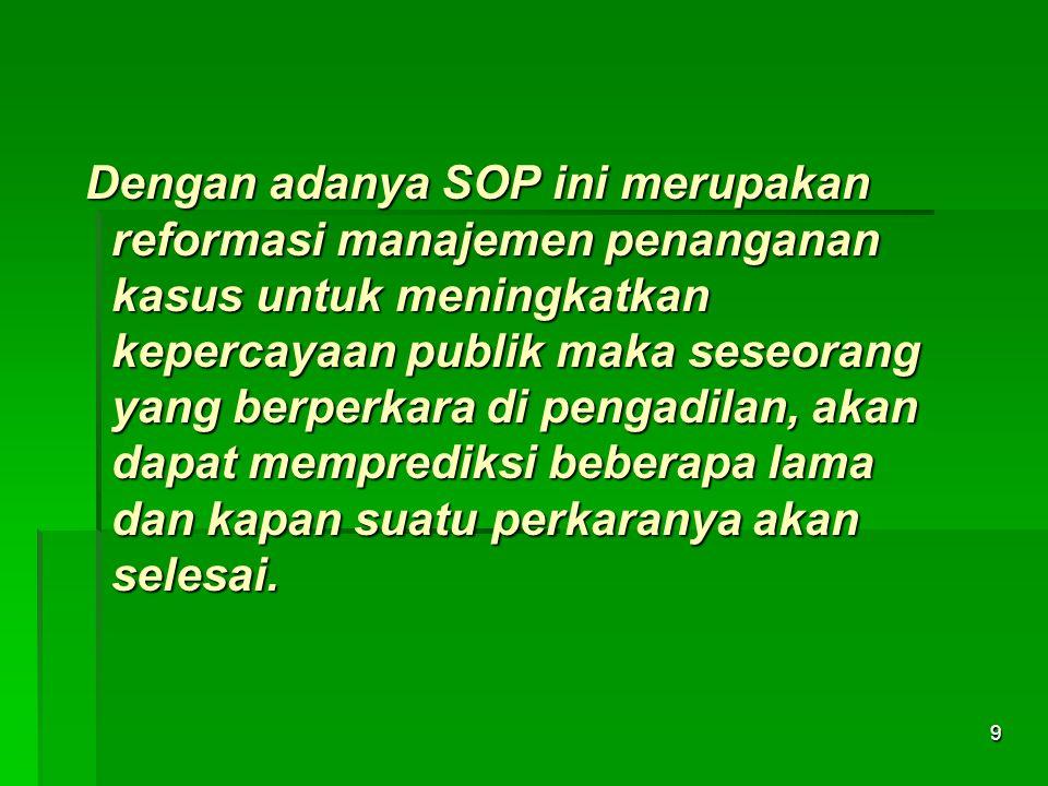 Dengan adanya SOP ini merupakan reformasi manajemen penanganan kasus untuk meningkatkan kepercayaan publik maka seseorang yang berperkara di pengadila