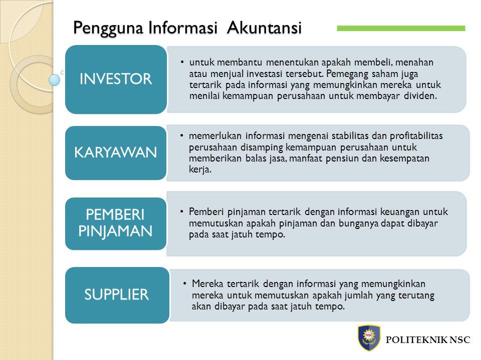 Pengguna Informasi Akuntansi POLITEKNIK NSC untuk membantu menentukan apakah membeli, menahan atau menjual investasi tersebut.