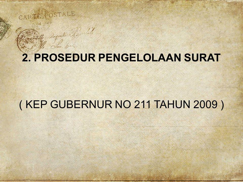 2. PROSEDUR PENGELOLAAN SURAT ( KEP GUBERNUR NO 211 TAHUN 2009 )