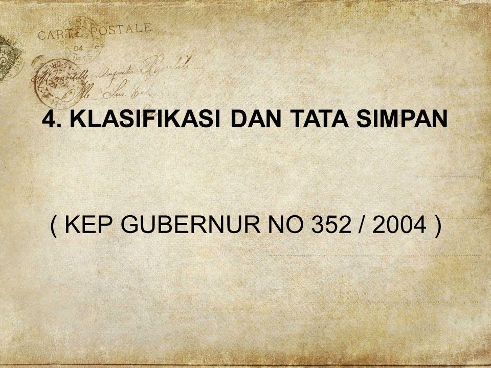 4. KLASIFIKASI DAN TATA SIMPAN ( KEP GUBERNUR NO 352 / 2004 )